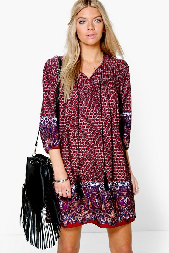 Samantha Border Print Tassel Shift Dress