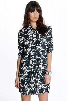 Cora Mono Paisley Tie Neck Shirt Dress