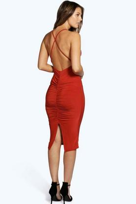 Eva Slinky Cowl Front Ruched Back Midi Dress