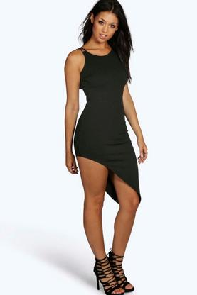 Grace Asymmetric Metal Trim Bodycon Dress