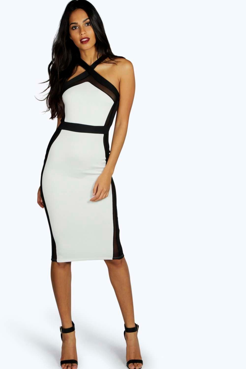 Isabella Cross Front Mesh Midi Bodycon Dress