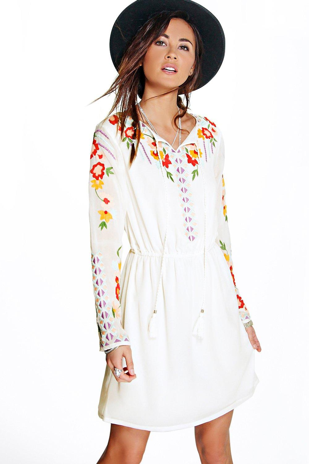 Boutique Anya Embroidered Smock Dress