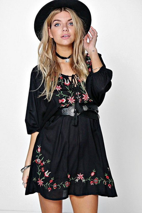 Boutique Carol Embroidered Batwing Dress