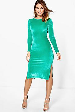 Beatrice Velvet Midi Bodycon Dress