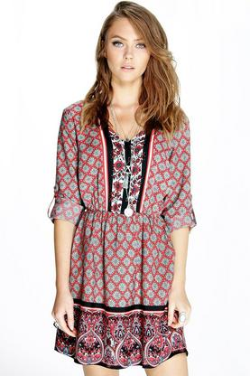 Lucy Mix Print Button Detail Dress