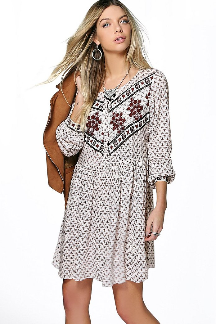 Maria Mix Print Long Sleeve Skater Dress