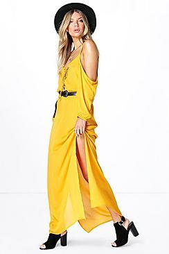 Nikki Lace Open Shoulder Maxi Dress