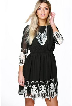 Boutique Hayley Embroidery Detail Skater Dress