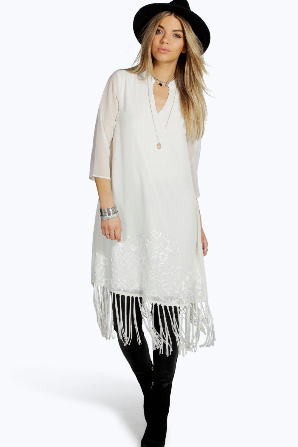 Boutique Susan Embroidery & Tassel Tunic Dress