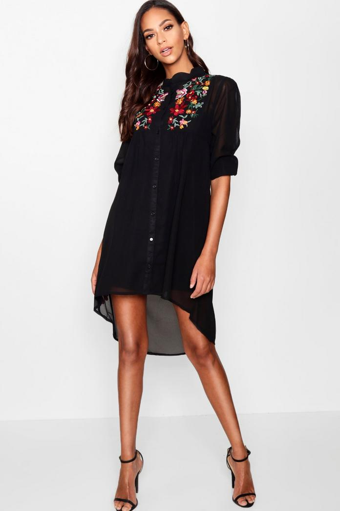 Boutique ana embroidered shirt dress boohoo