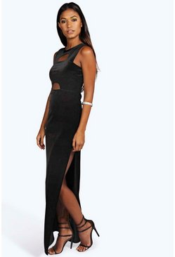 Jasmine Cut Out Detail Velvet Maxi Dress