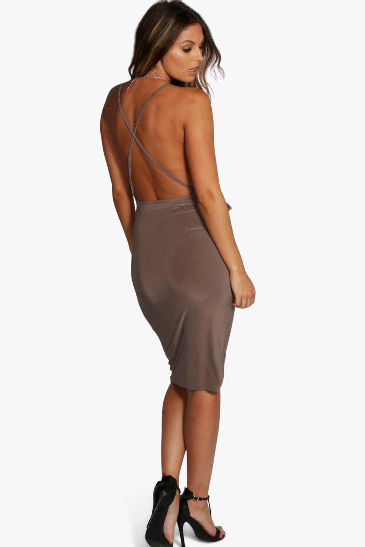 boohoo womens evie wrap detail plunge slinky midi dress ebay