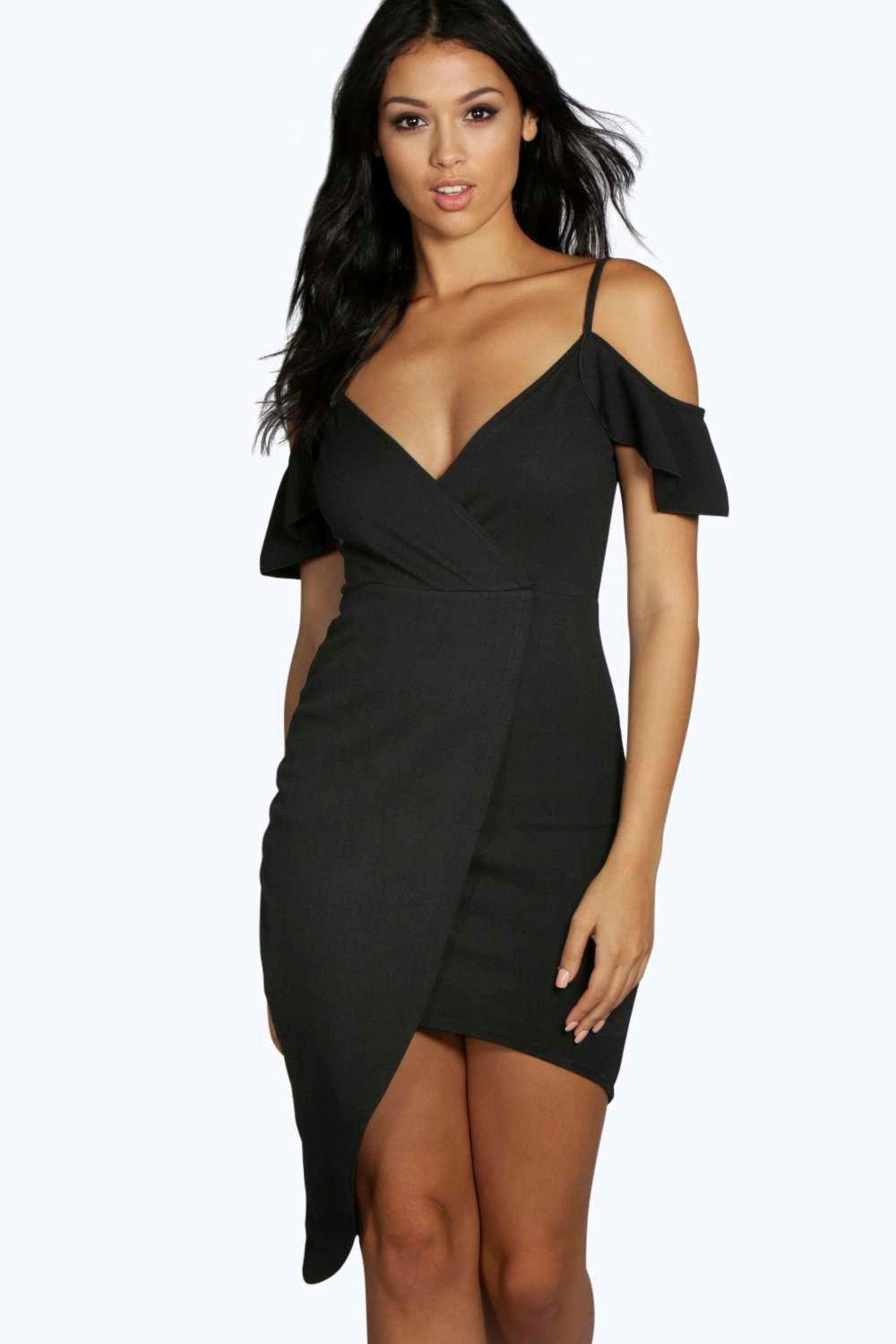 Cold Shoulder Asymmetric Bodycon Dress  black