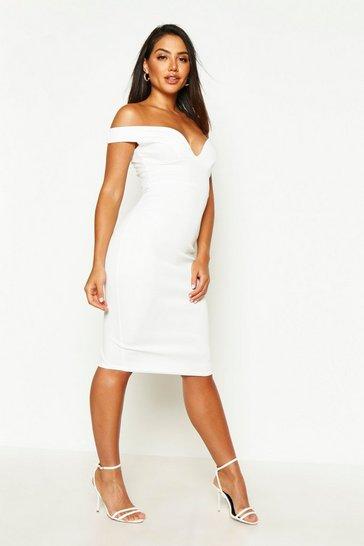 Ivory Sweetheart Off Shoulder Bodycon Midi Dress