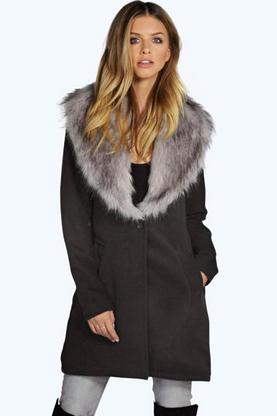 Lilly Shawl Faux Fur Collar Coat