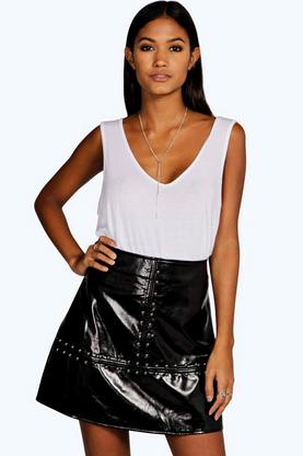 Minerva Studded A Line Leather Look Mini Skirt