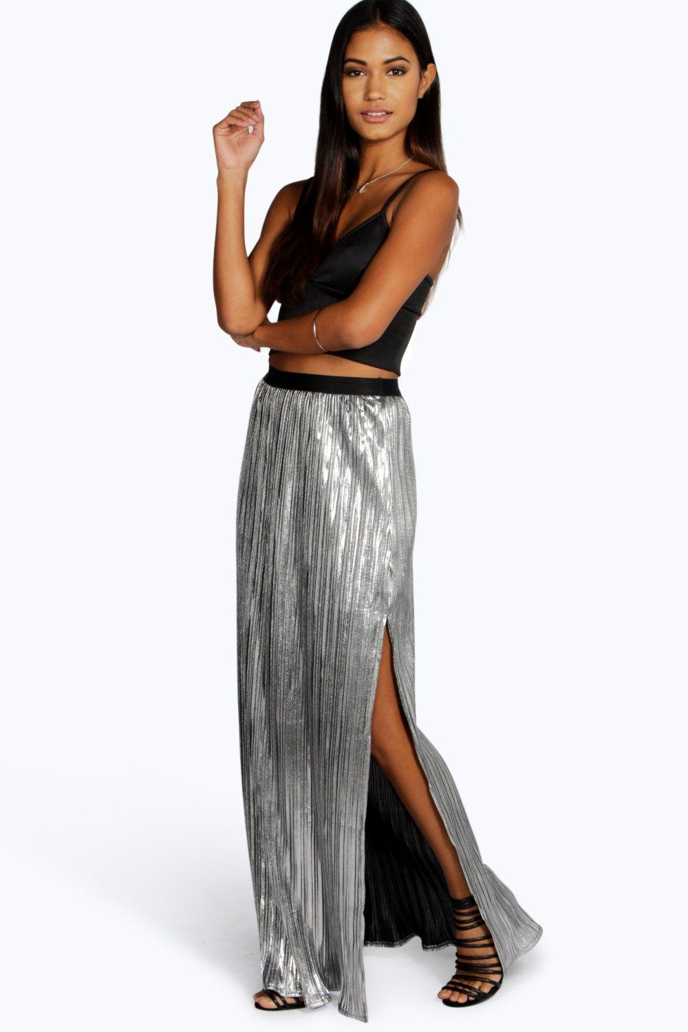 Boutique Elle Metallic Pleated Split Maxi Skirt