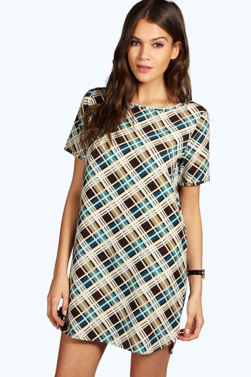 Brittany Check Curved Hem Shift Dress