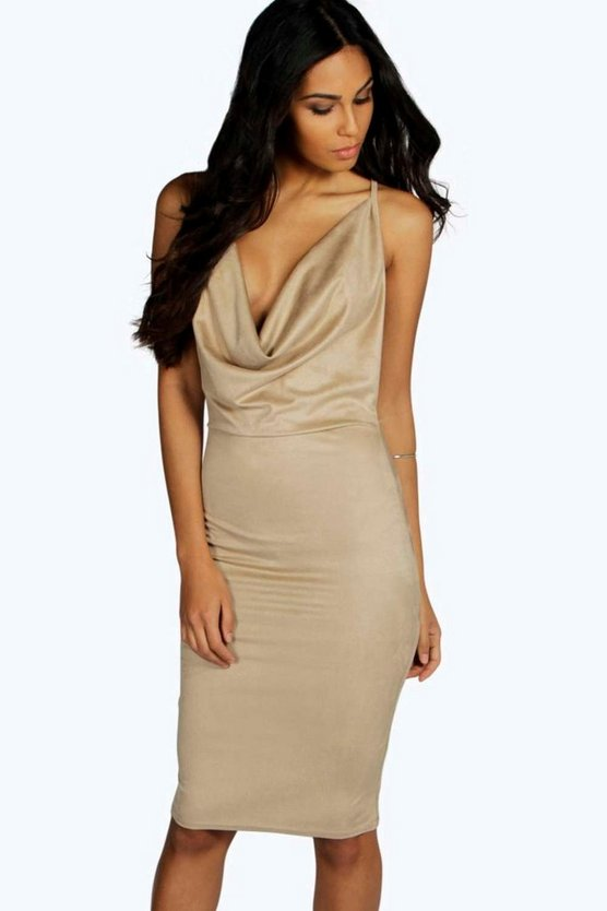 Selina Suedette Cowl Neck Midi Bodycon Dress