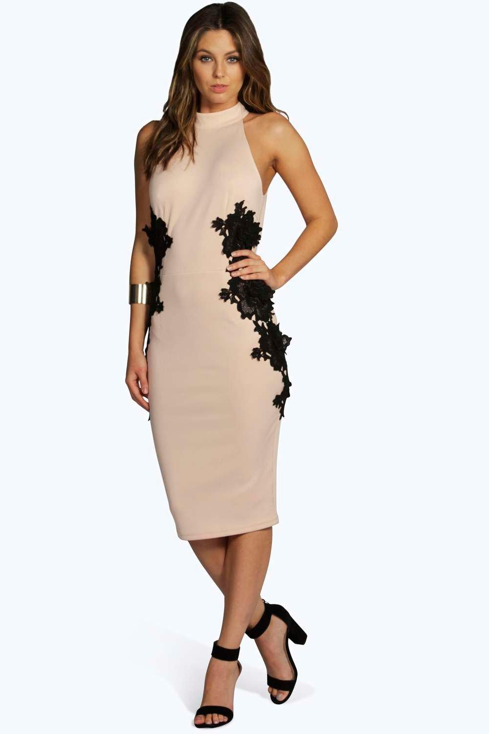 Boutique Katy Lace Panel Midi Bodycon Dress
