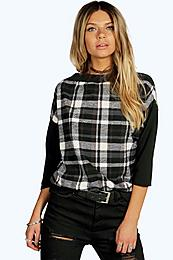 Oversized Check Textured Batwing Top grey