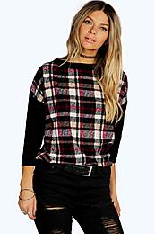 Oversized Check Textured Batwing Top plum