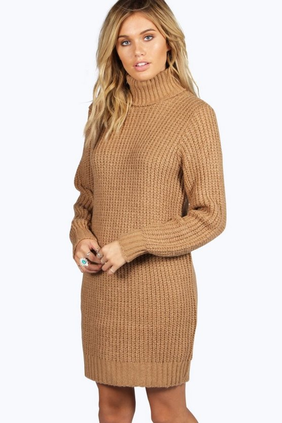 maisie robe pull col roulé en maille douce