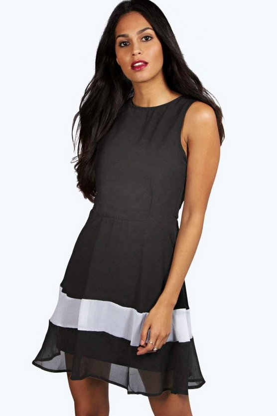Eva Monochrome Panel Woven Skater Dress