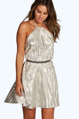 Freya Halterneck Strappy Metallic Skater Dress