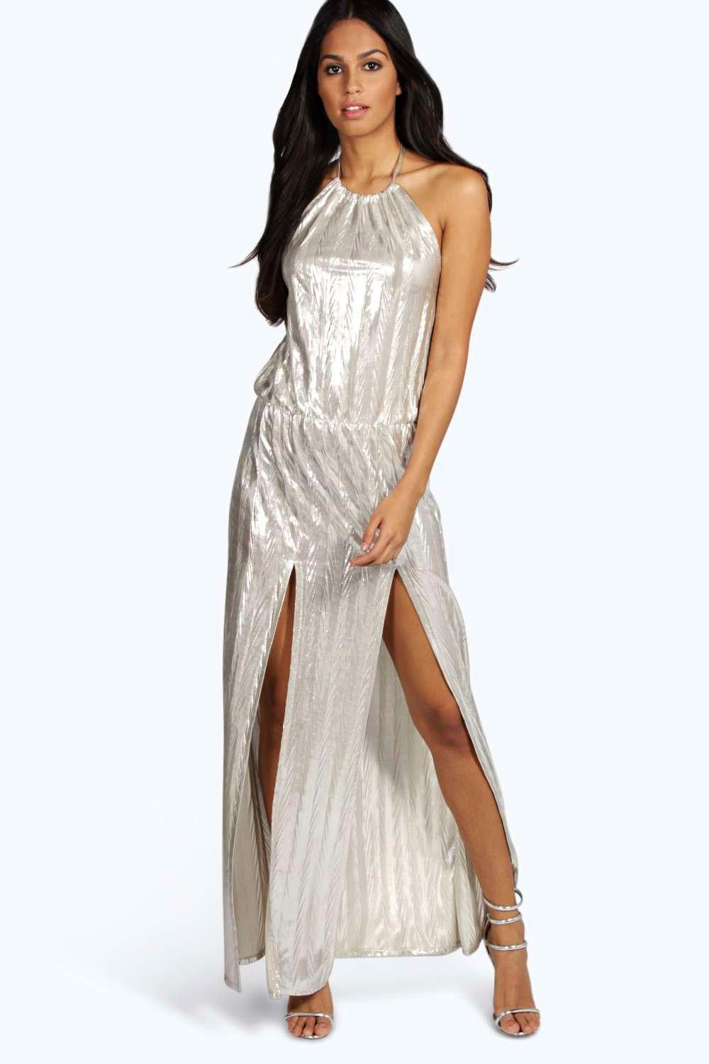 Rosie Metallic Pleated Halter Maxi Dress