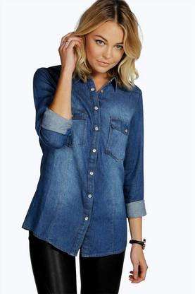 Tori Roll Sleeve Fitted Denim Shirt
