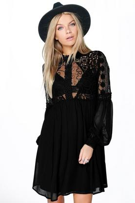 Boutique Lola Lace High Neck Babydoll Dress