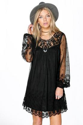 Boutique Lois Lace & Crochet Shift Dress