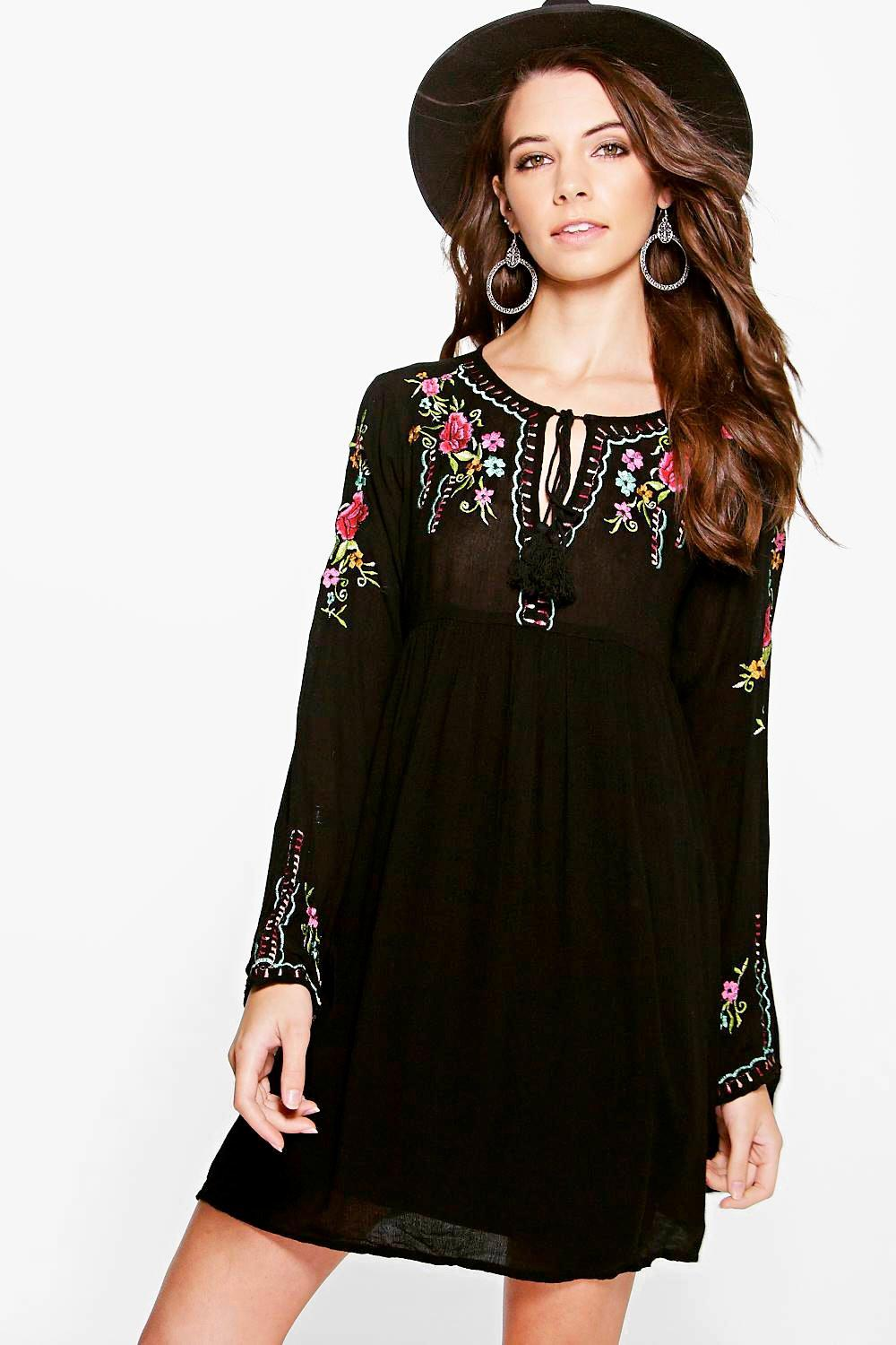 Christina Floral Embroidered Smock Dress