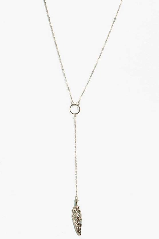 Kayla Skinny Plunge Feather Necklace