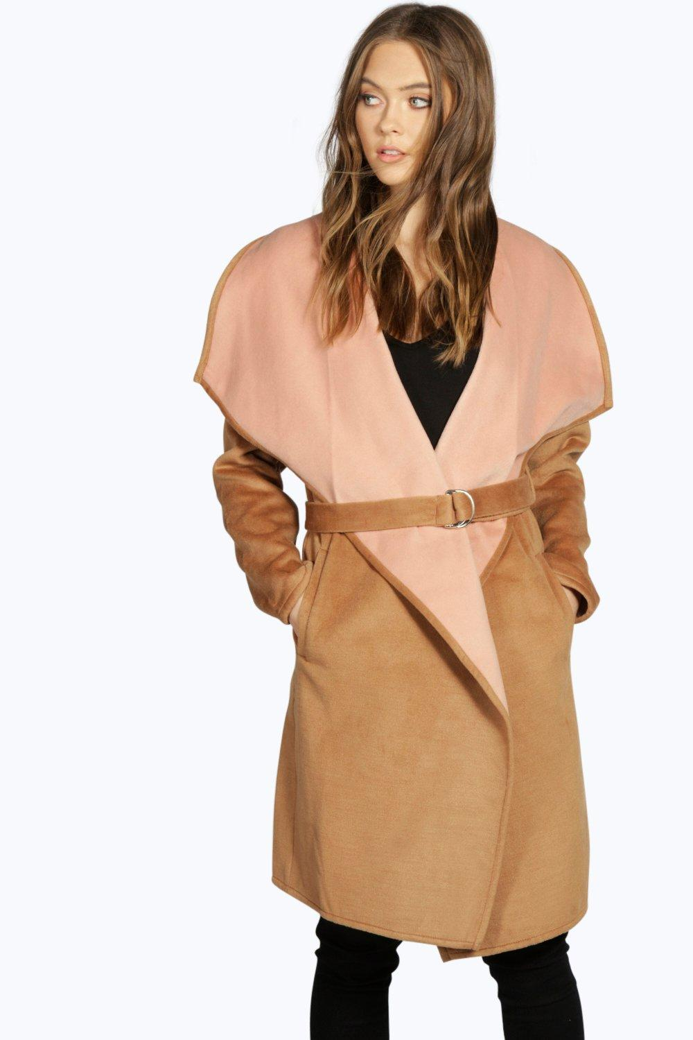 Boutique Ella Belted Contrast Waterfall Coat