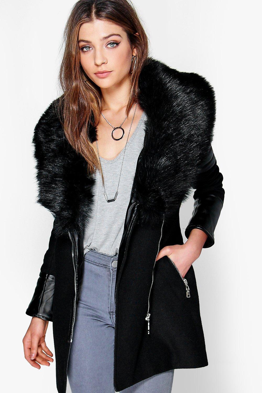 Shawl Faux Fur Collar Biker Coat black