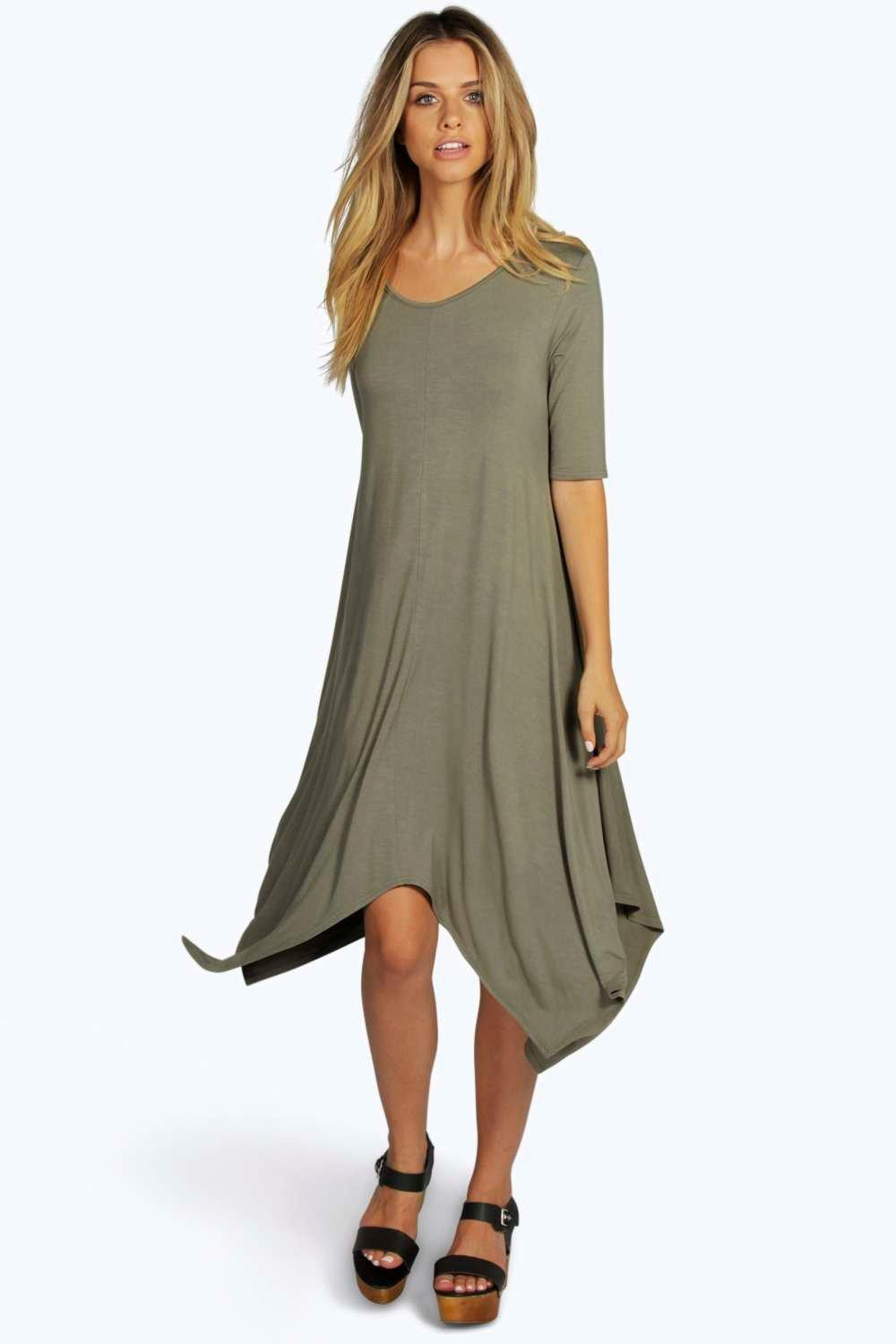 Indir Half Sleeve Hanky Hem Swing Dress