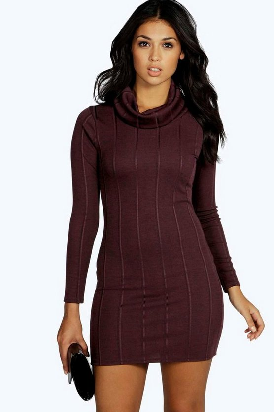 Hallie Oversized Roll Neck Rib Dress