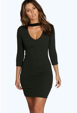 Louise V Neck Cut Out 3/4 Sleeve Shift Dress