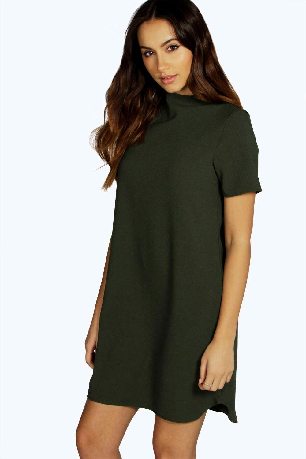 Antonia High Neck Dip Back Shift Dress
