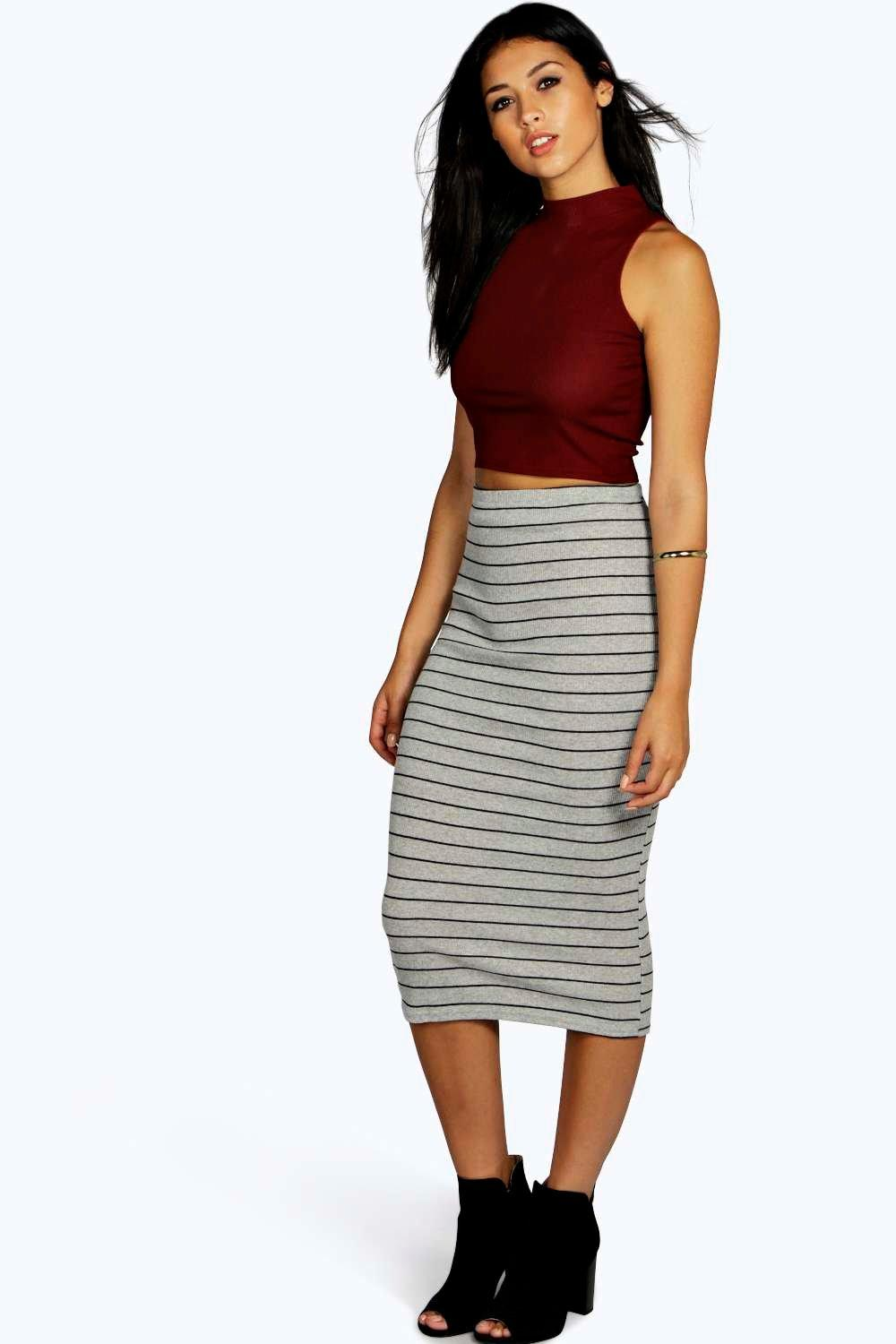 Talia Ribbed Stripe Longline Skirt