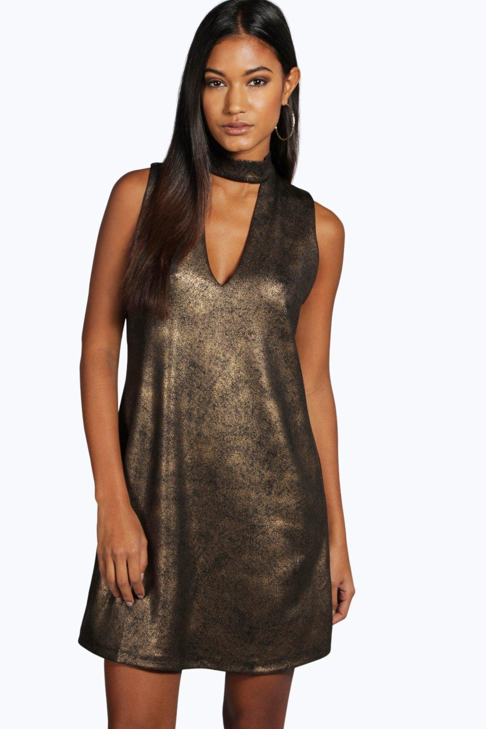 Nadia Metallic High Neck Cut Out Shift Dress