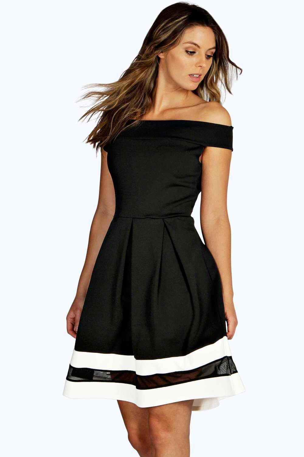 Off Shoulder Contrast Mesh Skater Dress  black