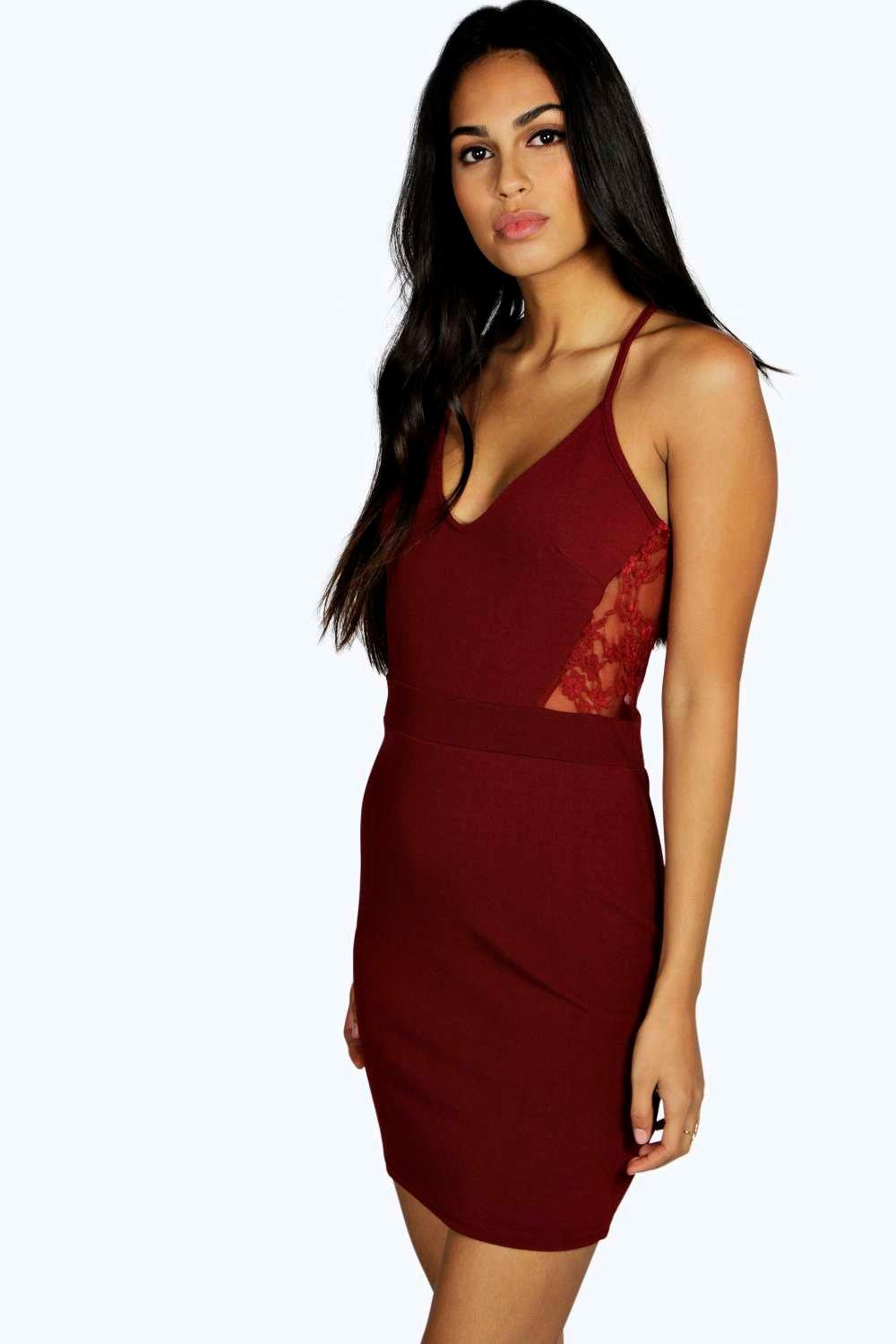 Leona Lace Back Cut Out Bodycon Dress