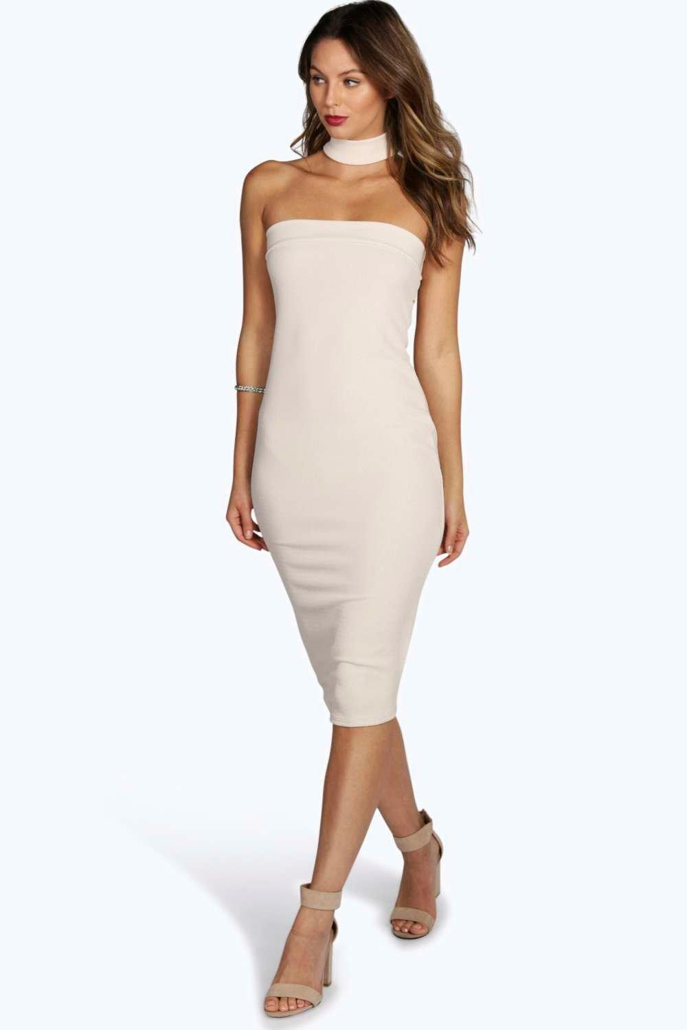 Hannah Neck Detail Bandeau Midi Dress
