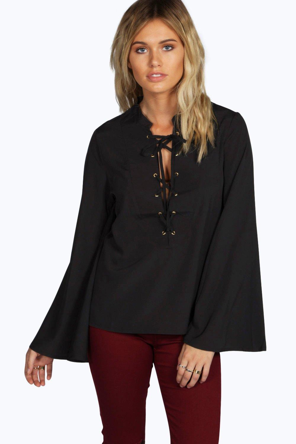 Jane Lace Up Front Woven Shirt