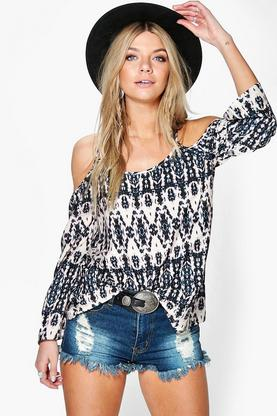 Caitlan Mixed Print Woven Cold Shoulder Top