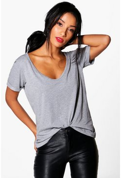 Jackie Boyfriend V Neck Basic Tee