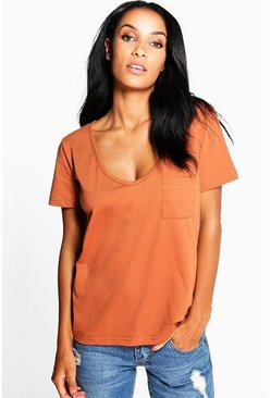 Clara Boyfriend V Neck Pocket Tee